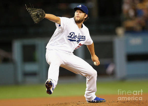 People Poster featuring the photograph Clayton Kershaw by Stephen Dunn
