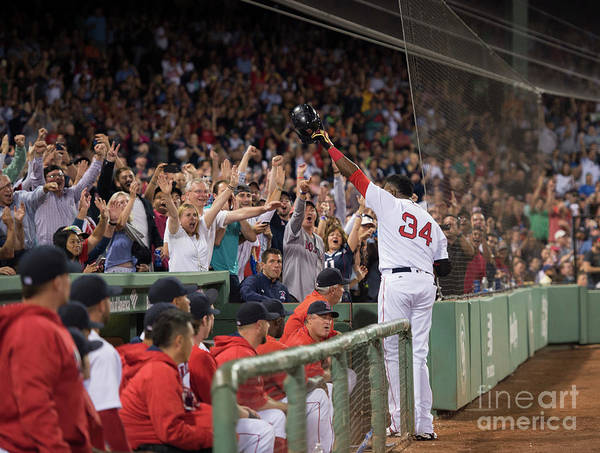 Crowd Poster featuring the photograph David Ortiz by Michael Ivins/boston Red Sox