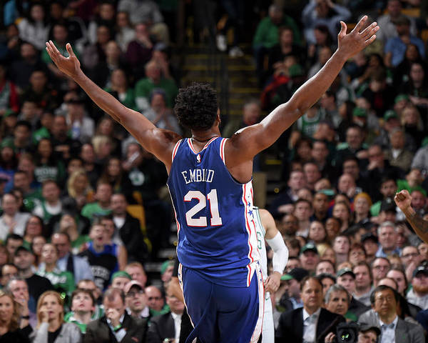 Nba Pro Basketball Poster featuring the photograph Joel Embiid by Brian Babineau