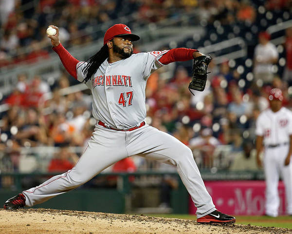 Ninth Inning Poster featuring the photograph Johnny Cueto by Rob Carr