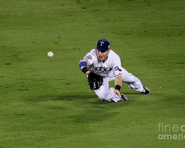American League Baseball Poster featuring the photograph Josh Hamilton by Stephen Dunn