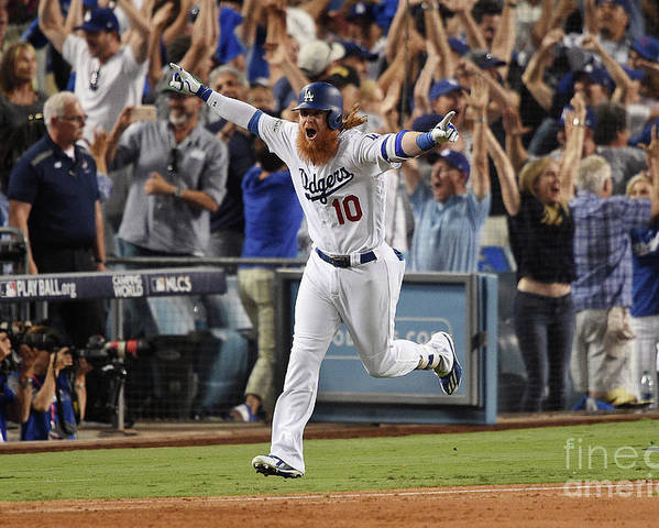 Game Two Poster featuring the photograph Justin Turner by Kevork Djansezian