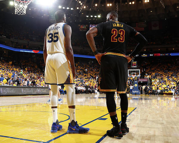 Playoffs Poster featuring the photograph Kevin Durant and Lebron James by Nathaniel S. Butler