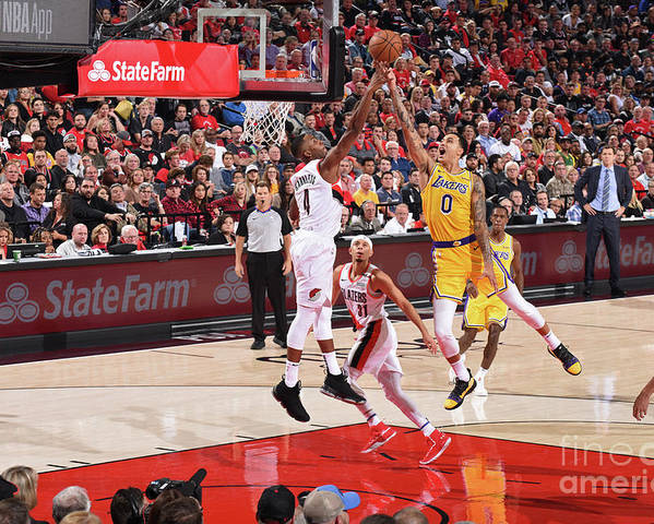 Nba Pro Basketball Poster featuring the photograph Kyle Kuzma by Andrew D. Bernstein
