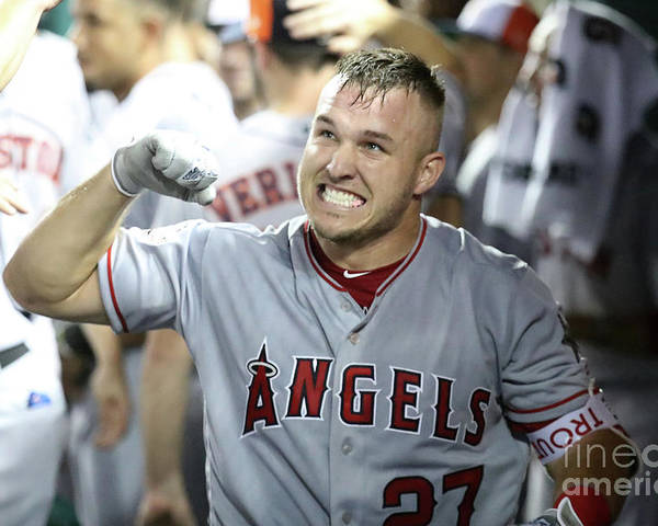 People Poster featuring the photograph Mike Trout by Rob Carr