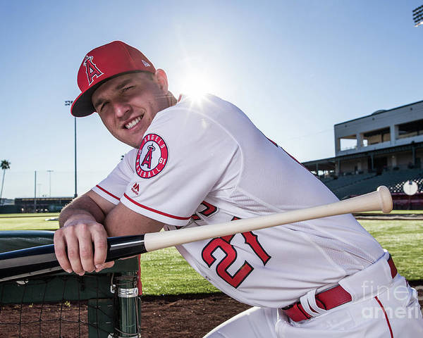 Media Day Poster featuring the photograph Mike Trout by Rob Tringali