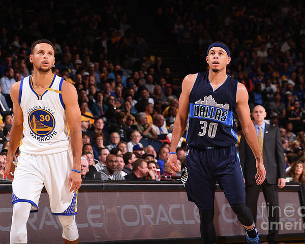 Nba Pro Basketball Poster featuring the photograph Stephen Curry and Seth Curry by Noah Graham