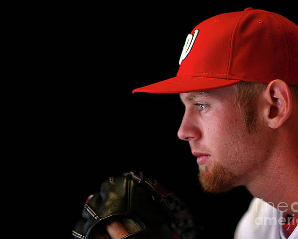 Media Day Poster featuring the photograph Stephen Strasburg by Mike Ehrmann