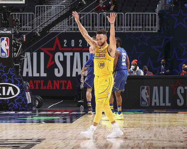 Atlanta Poster featuring the photograph Stephen Curry by Nathaniel S. Butler