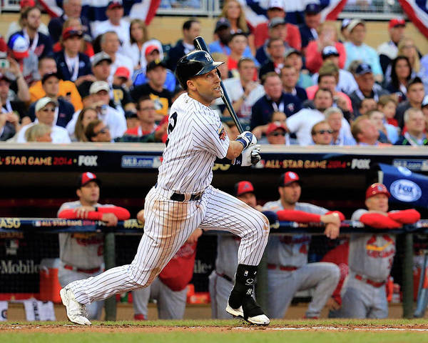 American League Baseball Poster featuring the photograph Derek Jeter by Rob Carr