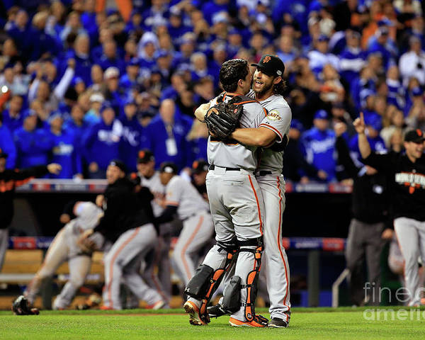 People Poster featuring the photograph Madison Bumgarner and Buster Posey by Jamie Squire