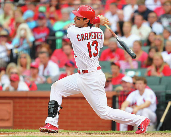 St. Louis Cardinals Poster featuring the photograph Matt Carpenter by Dilip Vishwanat