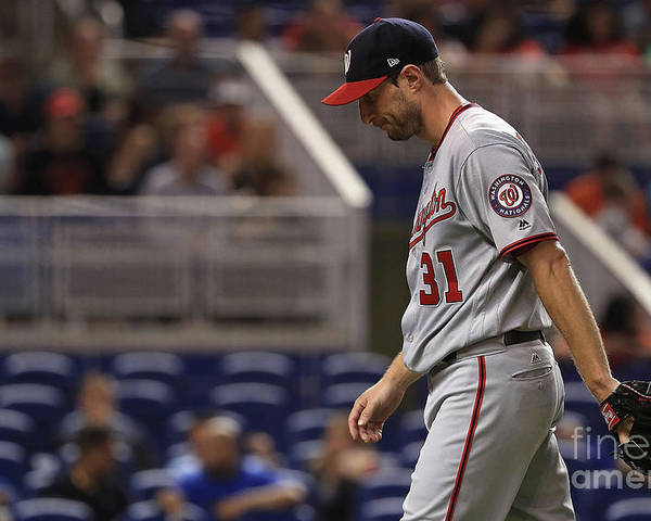 Second Inning Poster featuring the photograph Max Scherzer by Mike Ehrmann
