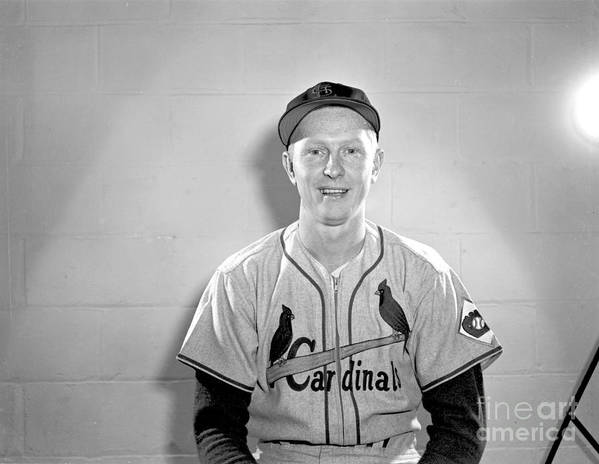 St. Louis Cardinals Poster featuring the photograph Red Schoendienst by Kidwiler Collection
