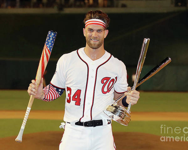 Three Quarter Length Poster featuring the photograph Bryce Harper by Rob Carr