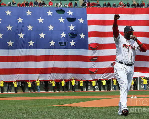 American League Baseball Poster featuring the photograph David Ortiz by Jim Rogash