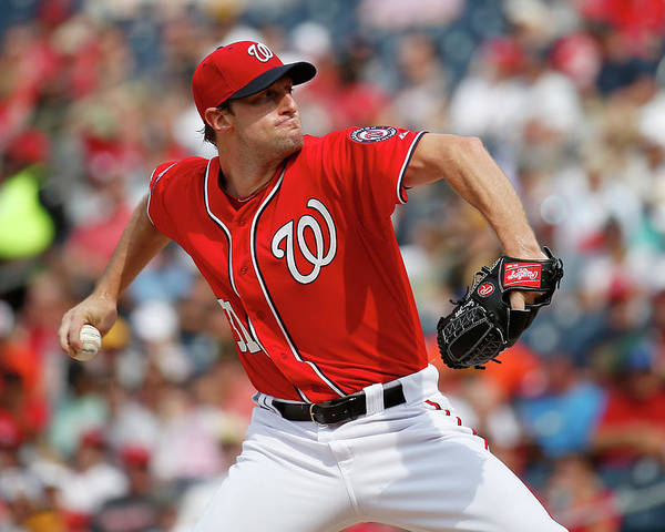 Three Quarter Length Poster featuring the photograph Max Scherzer by Rob Carr