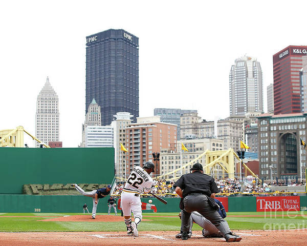 American League Baseball Poster featuring the photograph Andrew Mccutchen by Jared Wickerham