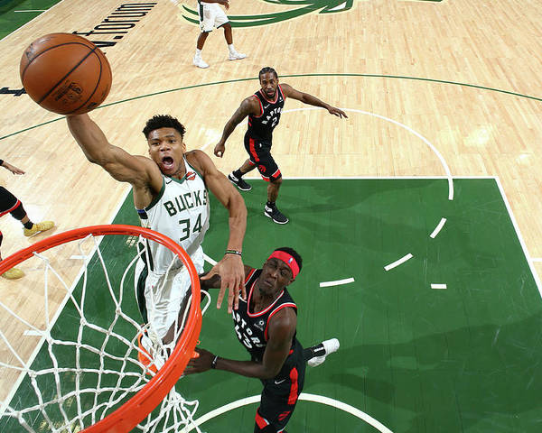 Game Two Poster featuring the photograph Giannis Antetokounmpo by Nathaniel S. Butler