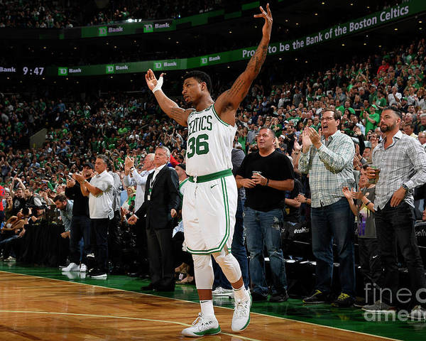 Playoffs Poster featuring the photograph Marcus Smart by Brian Babineau