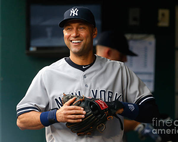 People Poster featuring the photograph Derek Jeter by Mike Stobe