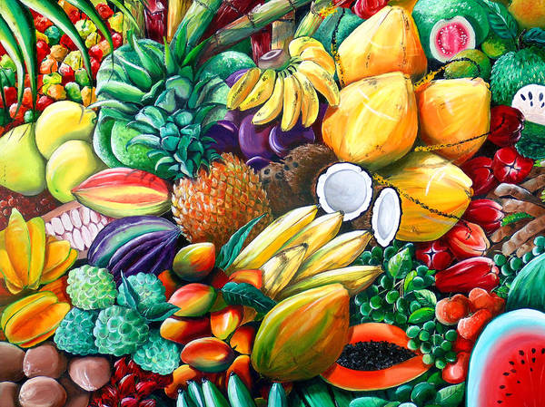 Caribbean Fruit Painting Tropical Fruit Painting Caribbean Pineapple Mangoes Bananas Coconut Watermelon Tropical Fruit Painting Poster featuring the painting A Taste Of The Islands by Karin Dawn Kelshall- Best