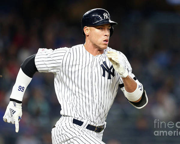 Three Quarter Length Poster featuring the photograph Aaron Judge by Mike Stobe