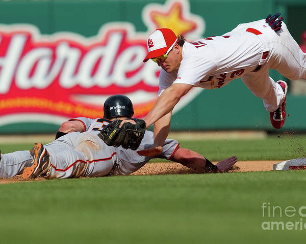 St. Louis Poster featuring the photograph Aaron Rowand and Ryan Theriot by Dilip Vishwanat