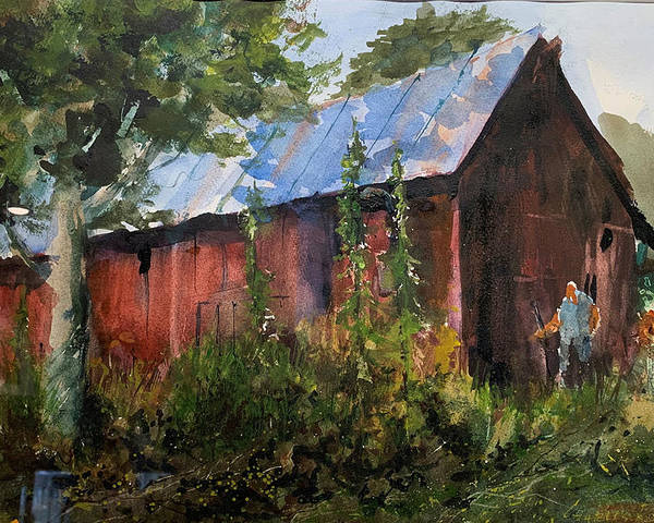 Rural. Barn Poster featuring the painting Abandoned at Aum Creek by Charles Rowland