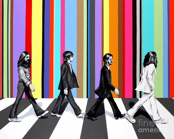 The Beatles Poster featuring the painting Abbey Road Technicolor by Amy Belonio