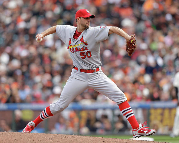 St. Louis Cardinals Poster featuring the photograph Adam Wainwright by Ezra Shaw