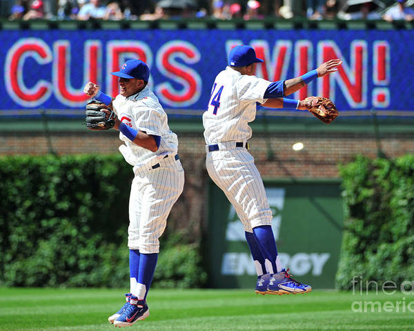 People Poster featuring the photograph Addison Russell and Starlin Castro by David Banks