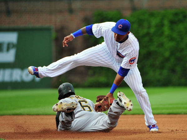 People Poster featuring the photograph Addison Russell and Starling Marte by David Banks