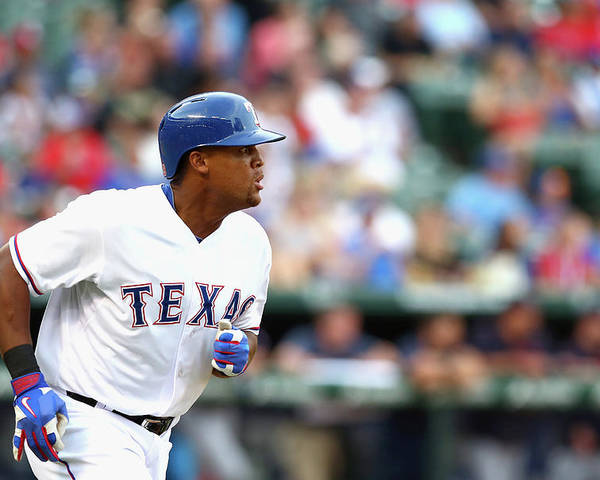 Adrian Beltre Poster featuring the photograph Adrian Beltre and Bruce Chen by Ronald Martinez