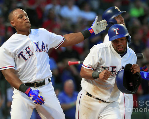 Headwear Poster featuring the photograph Adrian Beltre and Elvis Andrus by Tom Pennington