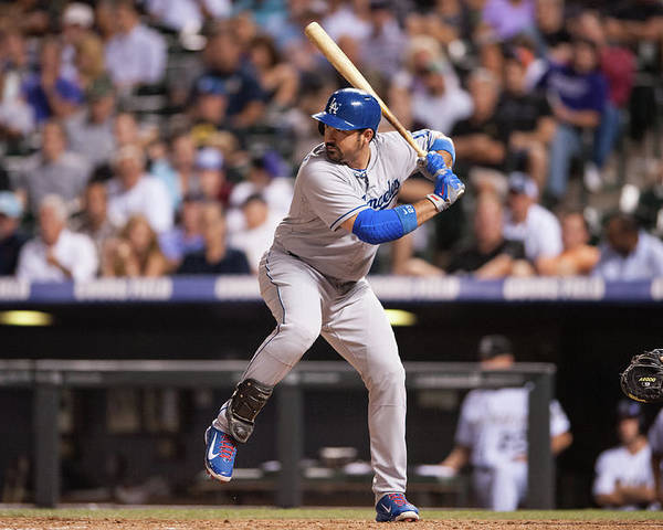 Los Angeles Dodgers Poster featuring the photograph Adrian Gonzalez by Dustin Bradford
