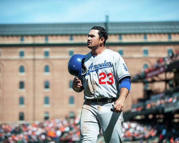 American League Baseball Poster featuring the photograph Adrian Gonzalez by Rob Tringali