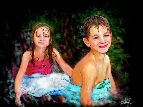 Portrait Poster featuring the digital art After- Swim by Arthur Fix
