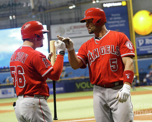 Ninth Inning Poster featuring the photograph Albert Pujols and Kole Calhoun by Brian Blanco