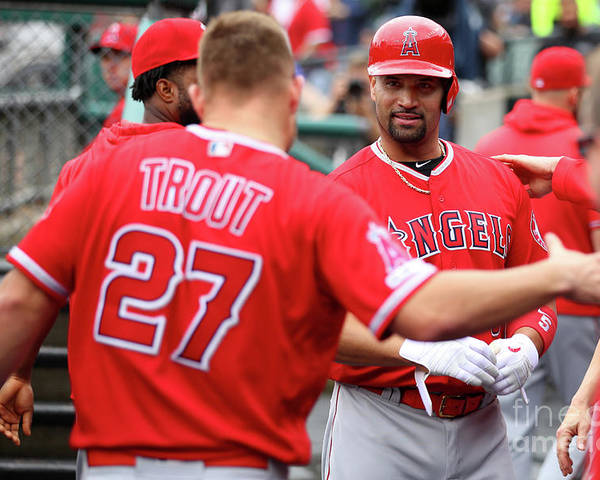People Poster featuring the photograph Albert Pujols and Mike Trout by Gregory Shamus