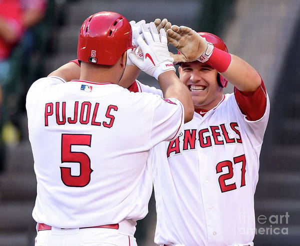 People Poster featuring the photograph Albert Pujols and Mike Trout by Harry How