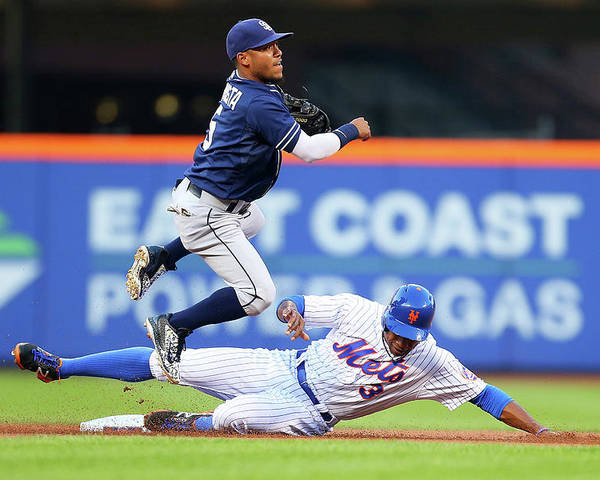 Double Play Poster featuring the photograph Alexi Amarista and Curtis Granderson by Mike Stobe