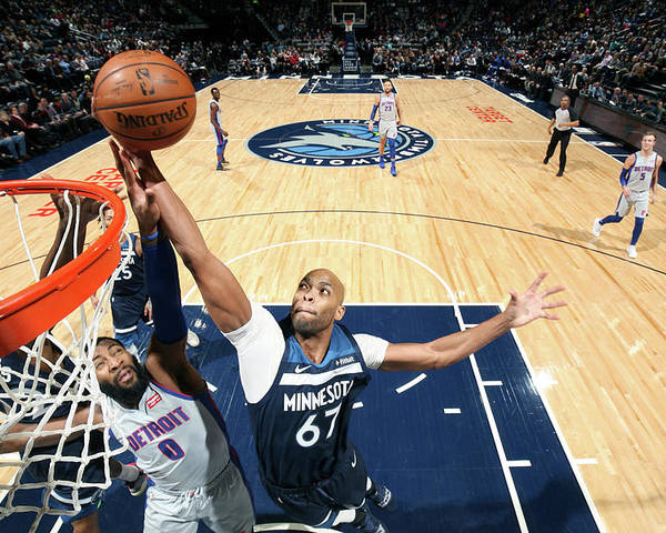 Nba Pro Basketball Poster featuring the photograph Andre Drummond and Taj Gibson by David Sherman
