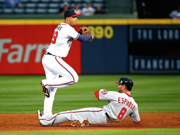 Atlanta Poster featuring the photograph Andrelton Simmons and Danny Espinosa by Kevin C. Cox