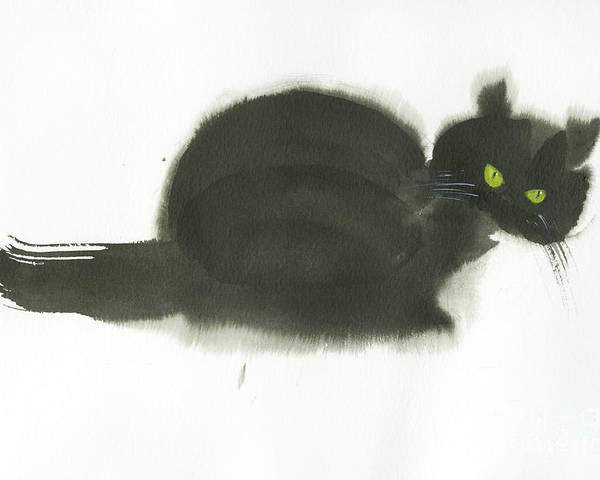 An Angry Cat With Green Eyes. This Is A Simple Contemporary Chinese Brush Painting On Rice Paper. Poster featuring the painting Angry Cat by Mui-Joo Wee