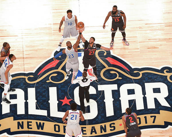 Event Poster featuring the photograph Anthony Davis and Lebron James by Garrett Ellwood