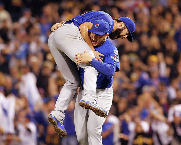 Playoffs Poster featuring the photograph Anthony Rizzo and Jake Arrieta by Justin K. Aller