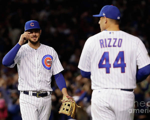 Three Quarter Length Poster featuring the photograph Anthony Rizzo and Kris Bryant by Jamie Squire