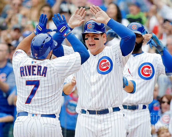 Second Inning Poster featuring the photograph Anthony Rizzo and Rene Rivera by Jon Durr
