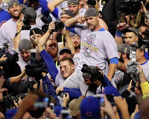 American League Baseball Poster featuring the photograph Anthony Rizzo, David Ross, and Jason Heyward by Jamie Squire